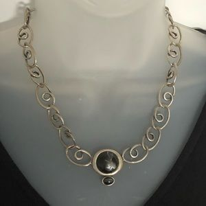 VTG Necklace Silver tone with black pendant
